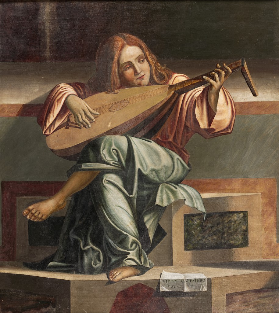 Painting of a seated figure playing a lute, by Desideri and Edward Waldo Forbes, after Vittore Carpaccio.