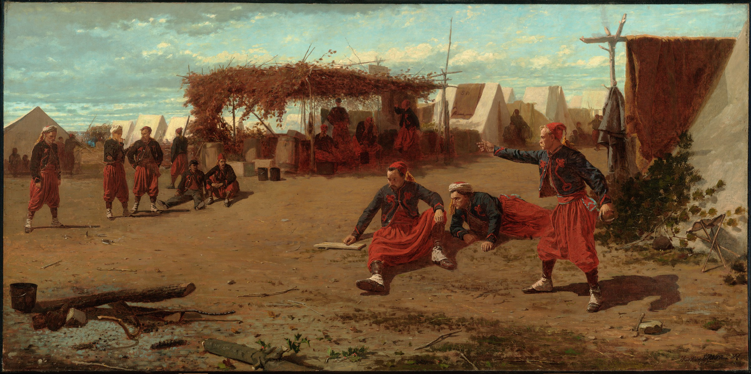 A painting showing a group of soldiers during a leisurely time playing a game of quoits, their baggy pants and filigreed jackets identify them as members of the 5th New York Volunteer Infantry.