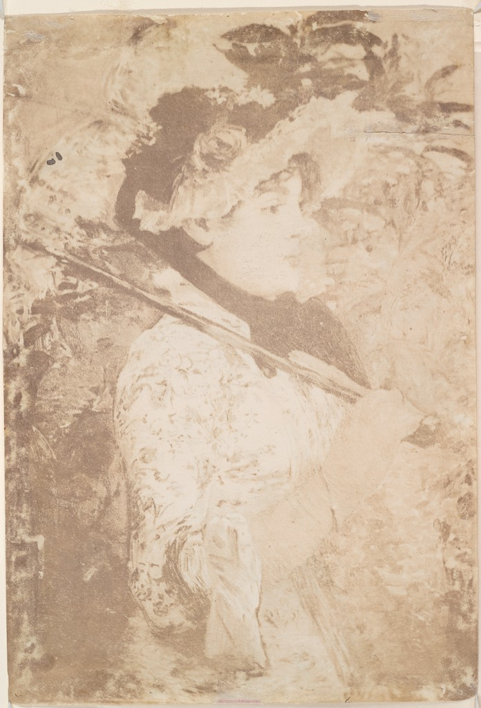 In the photographic side of Manet's drawing, a woman poses with a parasol on her shoulder.