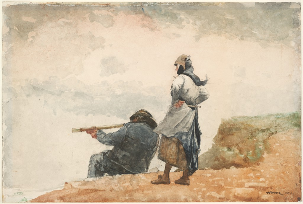 Watercolor of a man sitting at the edge of a cliff, pointing his gun below as a woman stands behind him and watches.