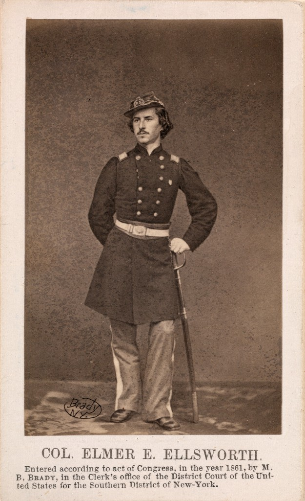 A photograph of Col. Elmer E. Ellsworth standing in his Union Army uniform