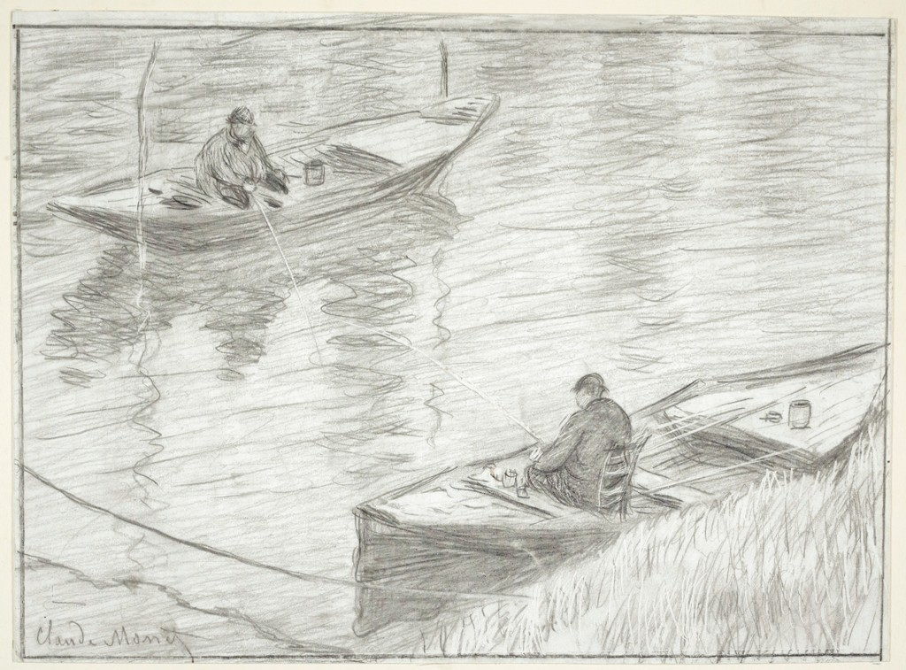 The original black crayon drawing of two men fishing in rowboats across from one another.