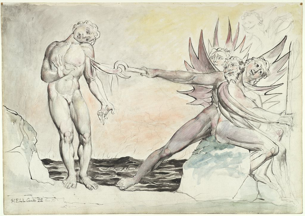 A graphic scene from Dante's Inferno in William Blake's Ciampolo the Barrator Tormented by the Malebranche [Devils]  (1824-27).
