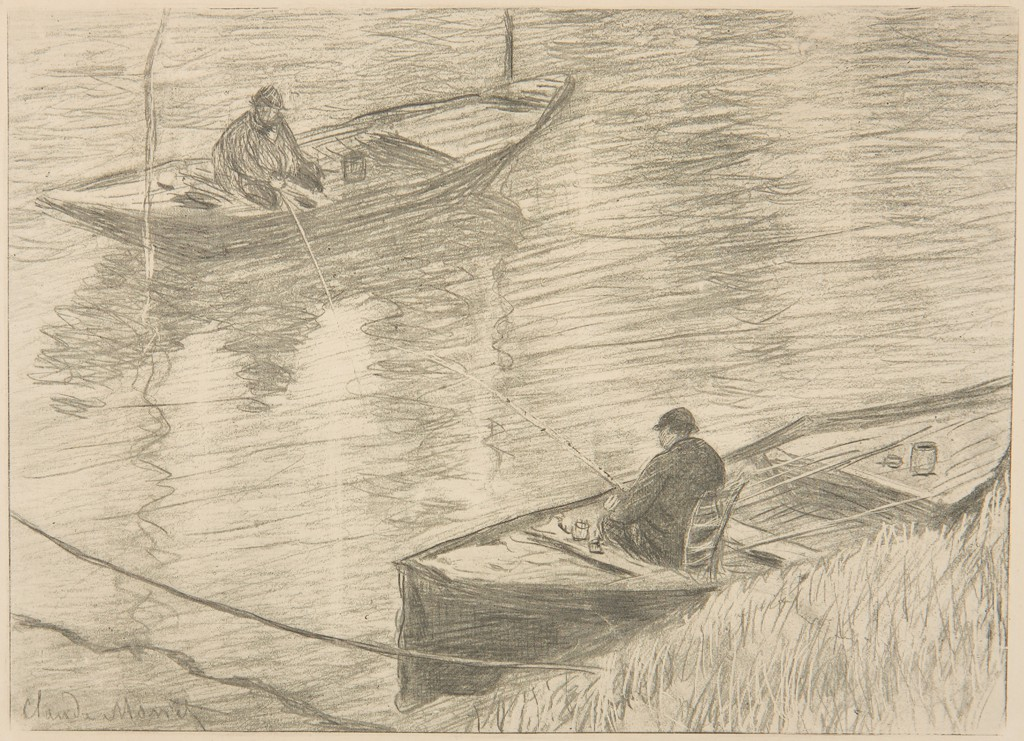 The gillotage print of the preceding work, depicting two men fishing and sitting in rowboats across from each other.