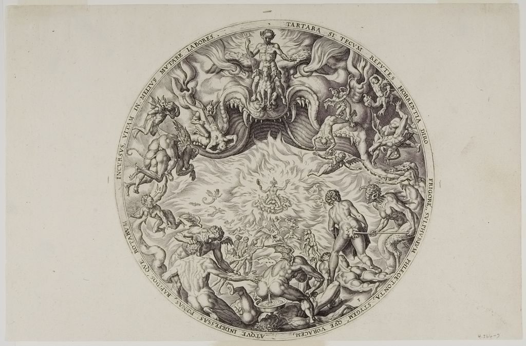 Philips Galle's print Hell (1569) also presents a circular composition.