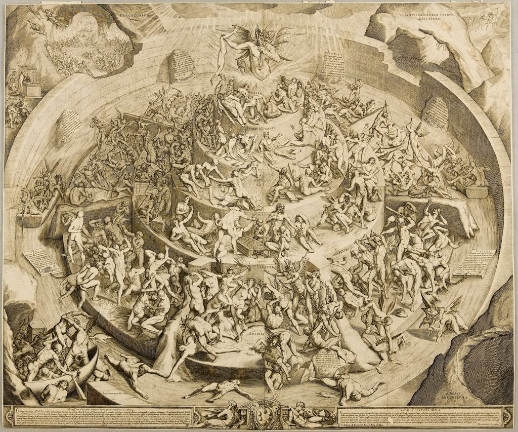 In the print Inferno according to Dante (c. 1612), by Jacques Callot after Bernardino Poccetti, there is a three-dimensional quality to the depiction of the various levels of hell.