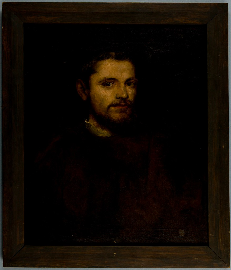 Painting of a man's face with a black background, by Edward Waldo Forbes and Charles Fairfax Murray.