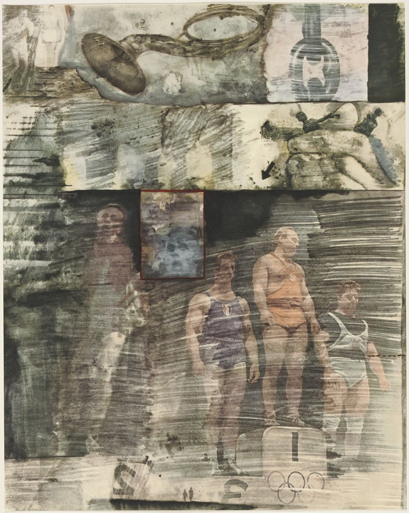 Olympic athletes stand on a podium in Robert Rauschenberg's  Canto XXXI (1964).