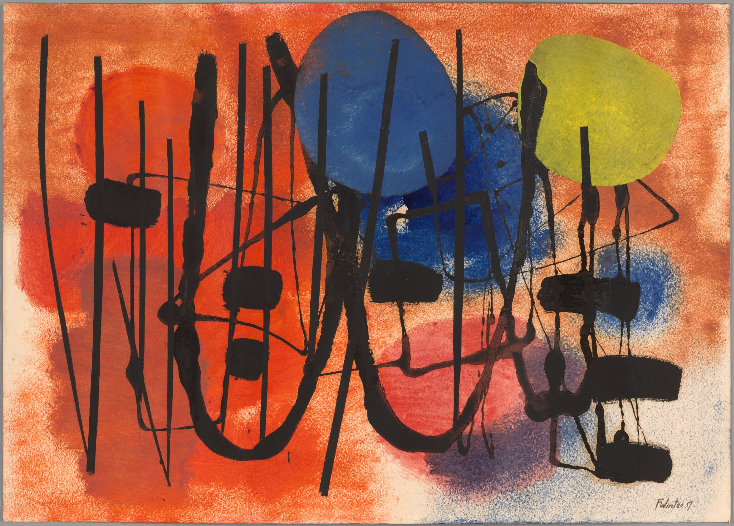 Fritz Winter, In Front of Red, 1951. Black paint and opaque and transparent watercolor on off-white thick paper. Harvard Art Museums/Busch-Reisinger Museum, Museum purchase, BR51.271.