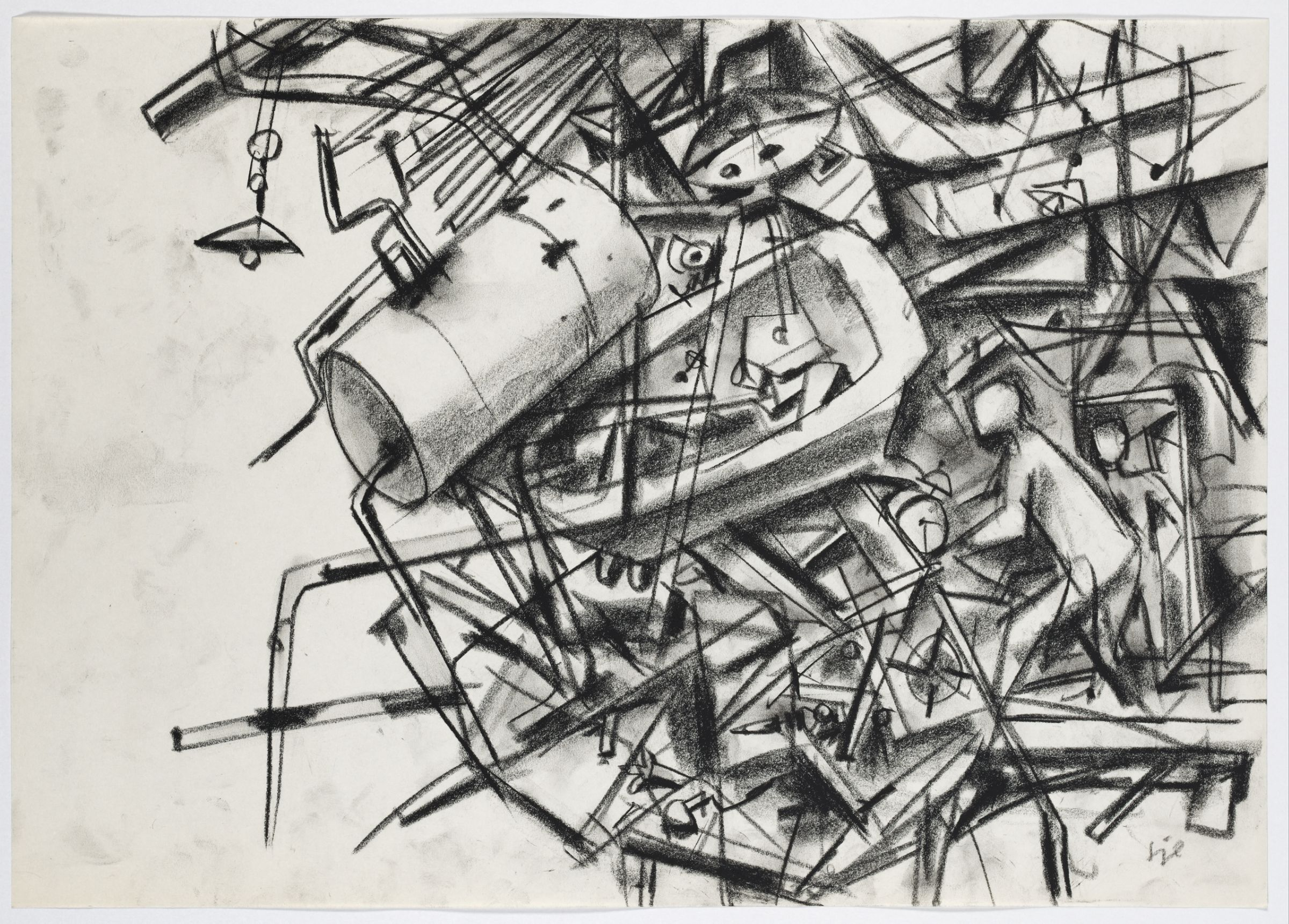 Erwin Spuler, Untitled, c. 1945/46. Black chalk on white wove paper. Harvard Art Museums/Busch-Reisinger Museum, Busch-Reisinger Museum Acquisition Fund, 2017.50.
