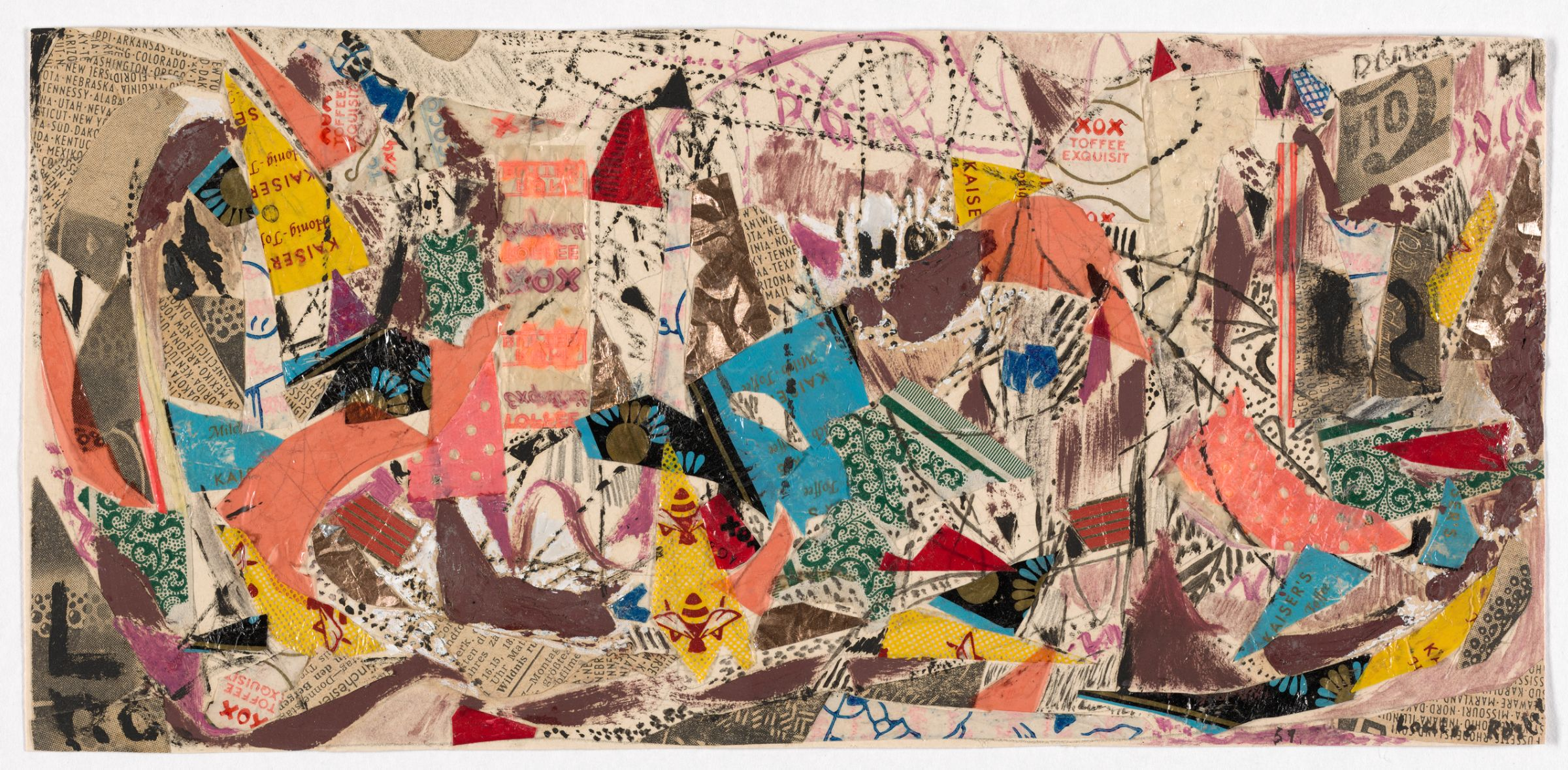 Louise Rösler, Street, 1951. Collage of cut printed paper, metal foil, cellophane, wax paper, opaque watercolor, and oil paint on wove paper. Harvard Art Museums/Busch-Reisinger Museum, Purchase through the generosity of Renke B. Thye, 2017.125.