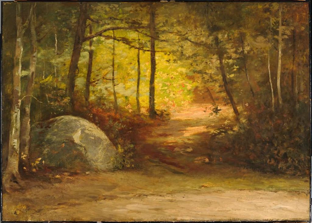 Painting by William Morris Hunt of a sunlit path through a dark grove of trees with a large rock at left in the foreground.