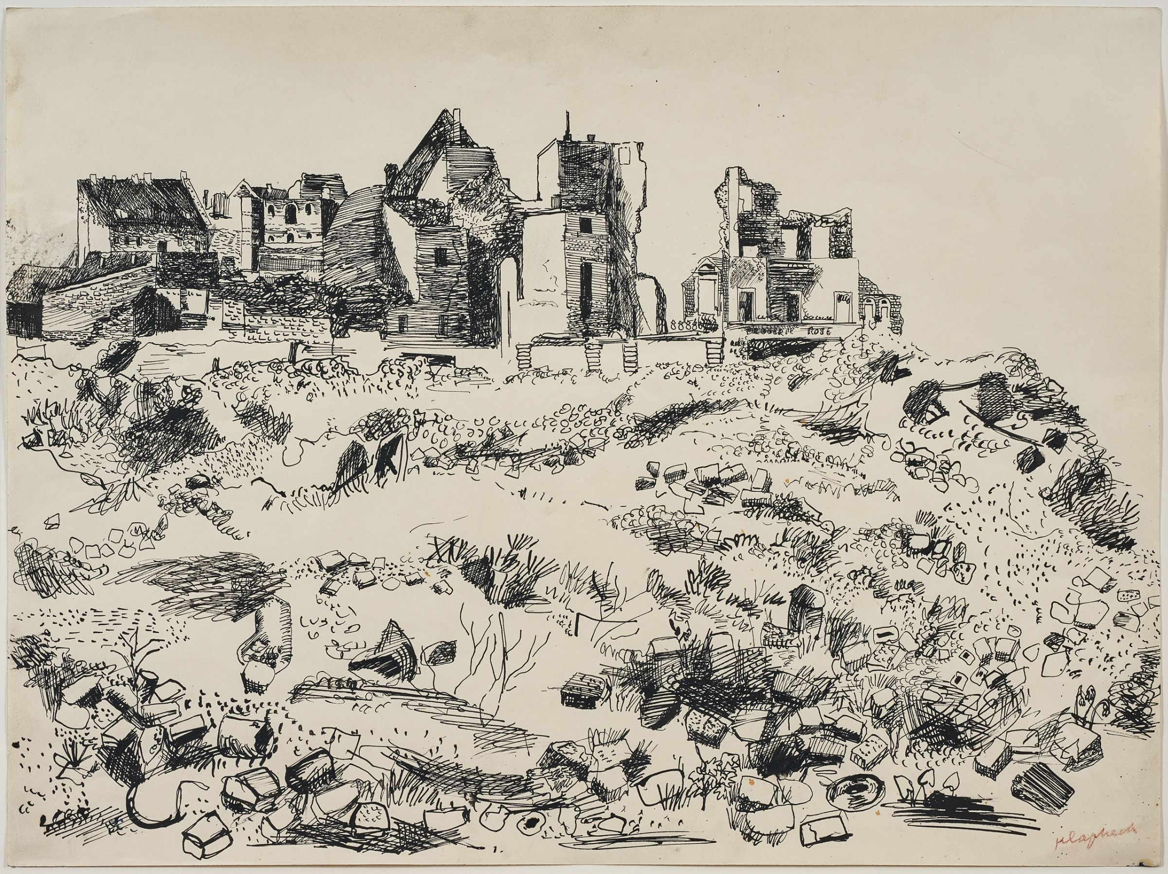 Konrad Klapheck, Landscape with Ruins, 1950. Pen and ink on paper. Collection of the artist, TL41828.2.