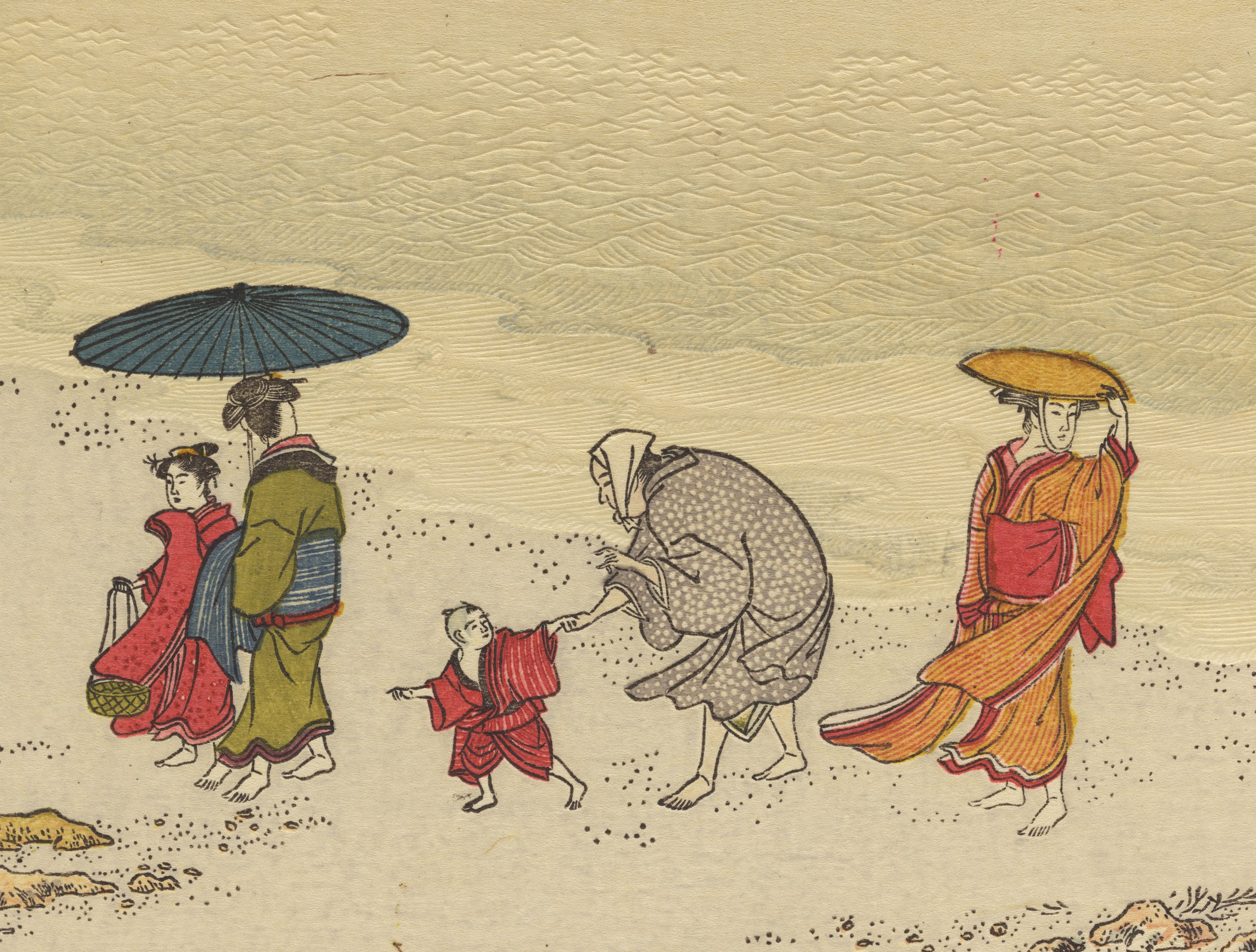 Page from the woodblock-printed book by Kitagawa Utamaro depicting figures on a beach.
