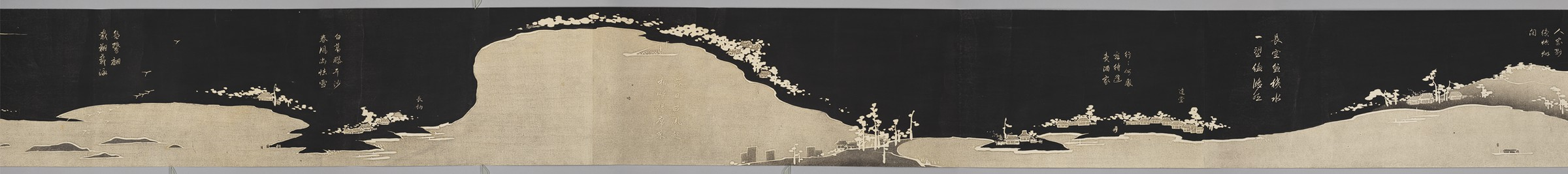 Handscroll by Itō Jakuchū featuring rivers and mountains.