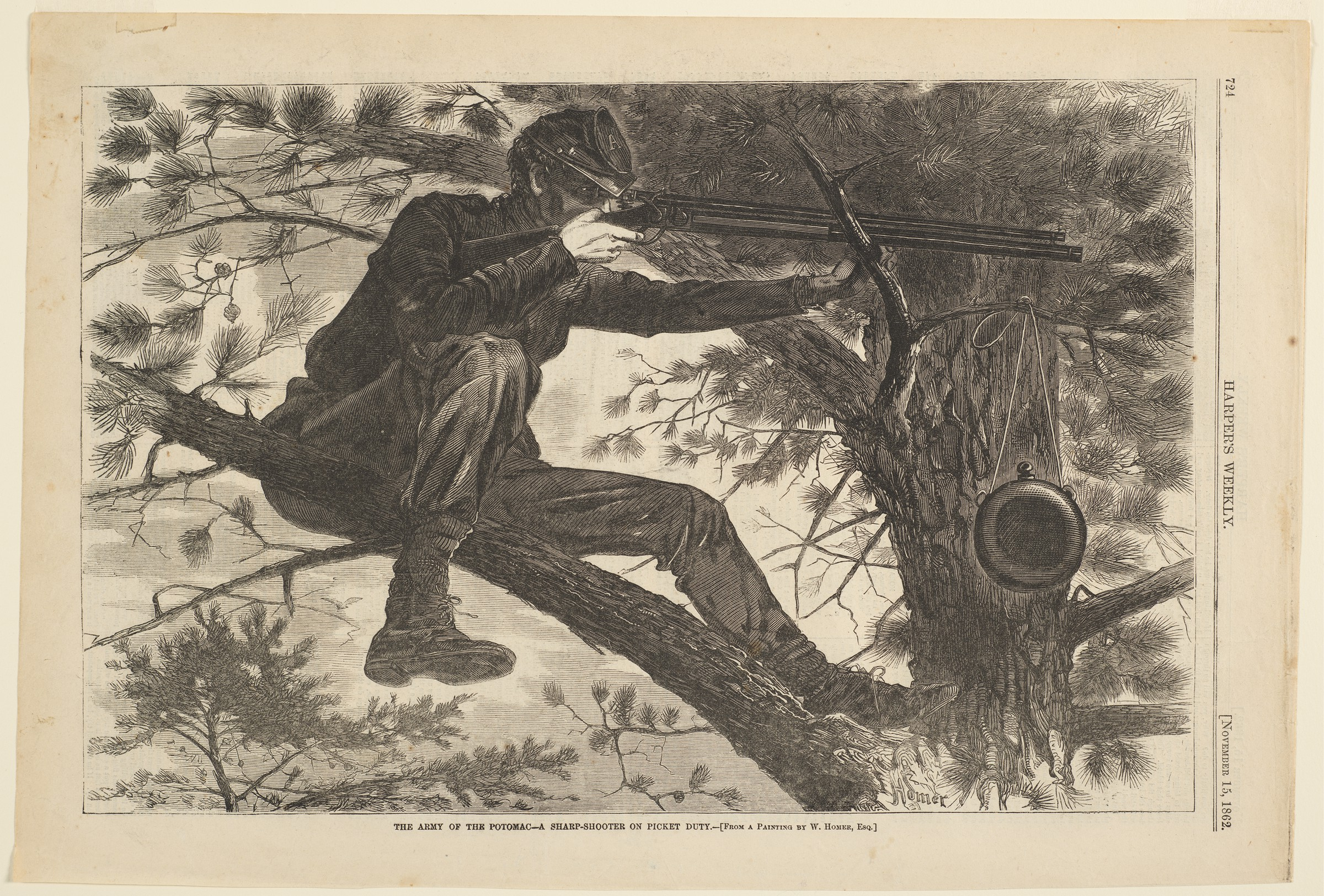 An engraving of a soldier sitting in a high tree branch, pointing his gun while his canteen hangs from a smaller branch.