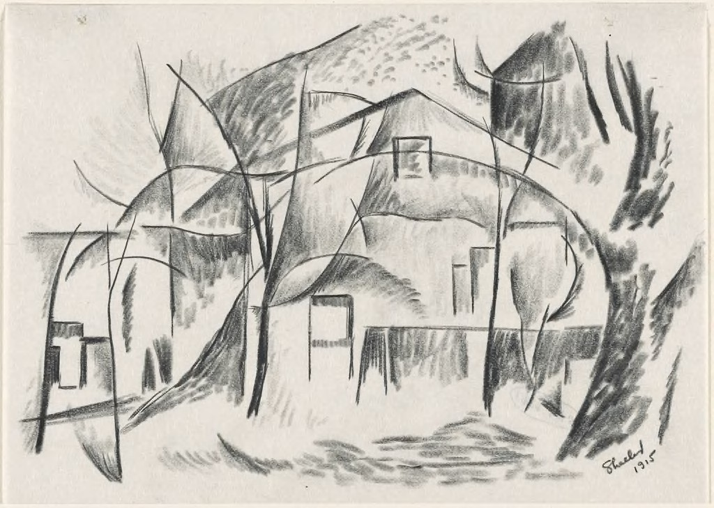 A black crayon sketch on off-white paper depicting a tree on the right side on the page and a building in the center.