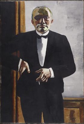 Max Beckmann, Self-Portrait in Tuxedo, 1927, Harvard Art Museums/Busch-Reisinger Museum.