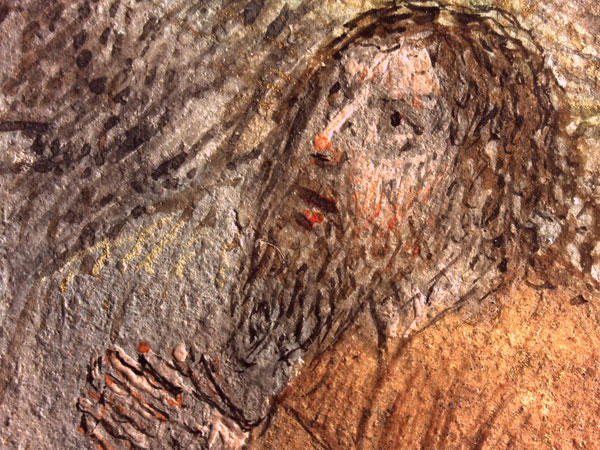 Detail of the tip of St. Anthony's companion's nose, as seen in the lower border of the Scenes from the Life of St. Anthony (100 recto). Photo: Courtesy Harvard Library Weissman Preservation Center.