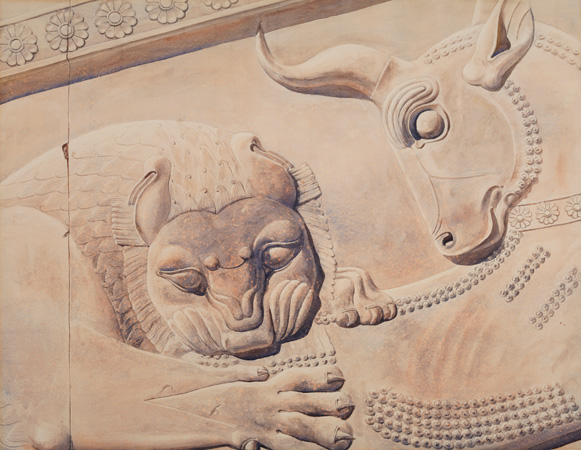 Eliot F. Noyes,Persepolis—Lion and Bull, 1935.Watercolor on paper. Loan from Frederick Noyes.