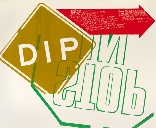 Corita Kent, dip, 1967. Screenprint. Harvard Art Museums/Fogg Museum, Margaret Fisher Fund, 2008.161. © Courtesy of the Corita Art Center, Immaculate Heart Community, Los Angeles.