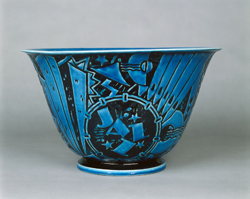"Viktor Schreckengost, ""Jazz"" Punch Bowl, 1931. Porcelain. Harvard Art Museums/Fogg Museum, The William M. Prichard Memorial Fund and the Decorative Arts Fund, 1994.70. © Viktor Schreckengost Foundation."