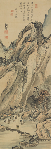 Yosa Buson, Crossing a Mountain Stream by a Bridge, c. 1778–83. Hanging scroll; ink and color on silk. Harvard Art Museums/Arthur M. Sackler Museum, Promised gift of Robert S. and Betsy G. Feinberg, TL41419.5.