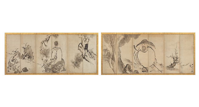 Ike Taiga, The Poet Su Shi (right) and Meng Jia Loses His Hat (left), Edo period, mid-18th century. Pair of six-panel folding screens; ink and light brown color on paper. Harvard Art Museums/Arthur M. Sackler Museum, Promised gift of Robert S. and Betsy G. Feinberg, TL41419.3.2, TL41419.3.1.
