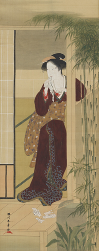 Katsukawa Shunshō, Woman Tearing a Love Letter, Edo period, 18th century. Hanging scroll; ink, color, and gold on paper. Harvard Art Museums/Arthur M. Sackler Museum, Promised gift of Robert S. and Betsy G. Feinberg, TL41327.7.