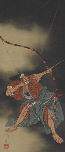 Katsushika Hokusai, Minamoto no Yorimasa Aiming an Arrow, Edo period, 1847. Hanging scroll; ink and color on silk. Harvard Art Museums/Arthur M. Sackler Museum, Promised gift of Robert S. and Betsy G. Feinberg, TL41419.8.