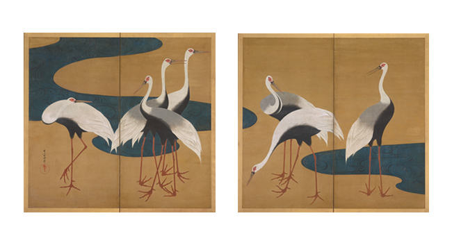 Suzuki Kiitsu, Cranes, Edo period, early to mid-19th century. Pair of two-panel folding screens; ink, color, and gold on paper. Harvard Art Museums/Arthur M. Sackler Museum, Promised gift of Robert S. and Betsy G. Feinberg, TL41449.7.1, TL41449.7.2.