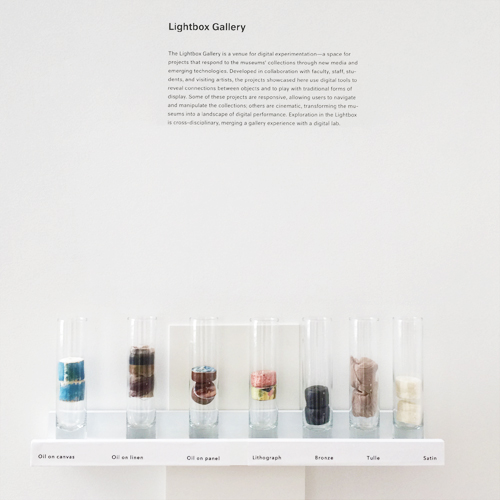 "For one project, visitors collected beads representing different materials used in works on display. They placed the beads in separate tubes in the Lightbox Gallery, and when a tube ""detected"" a bead, the video wall showcased all of the museums' works containing that material."