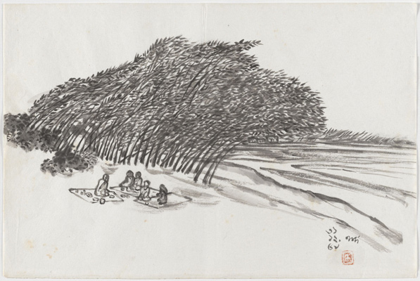 Nandalal Bose, Untitled (Picnic on River Bank), 1959. Ink on paper. Harvard Art Museums/Arthur M. Sackler Museum, Gift of Mary K. Eliot and Supratik Bose in honor of Professor Pramod Chandra, George P. Bickford Research Professor of Indian and South Asian Art, emeritus, Harvard University, 2013.167.