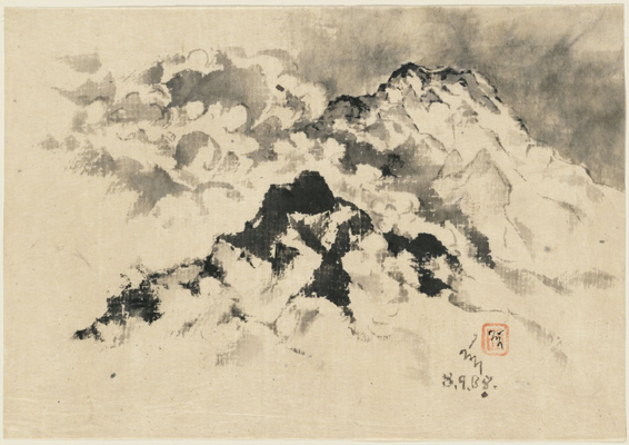 Nandalal Bose, Untitled (Mountains and Clouds), 1954. Ink on paper. Harvard Art Museums/Arthur M. Sackler Museum, Gift of Mary K. Eliot and Supratik Bose in honor of John M. Rosenfield, 2010.570.