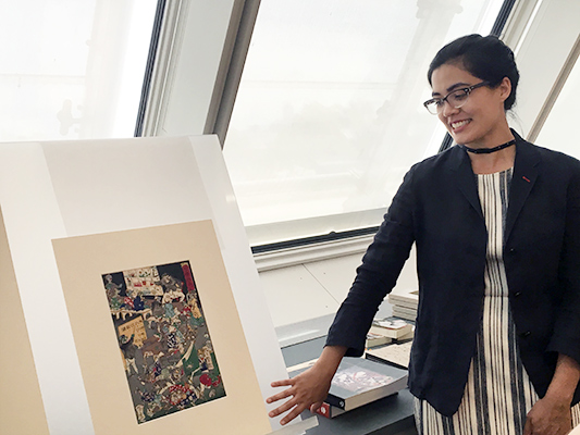At an open hours session at the Art Study Center, Quintana Heathman, the 2014–16 curatorial fellow in Japanese art, shared 18th- and 19th-century Japanese woodblock prints that illustrated the connection between Japan's rich history of spirits and monsters and the fantastic creatures in the Pokémon GO game.