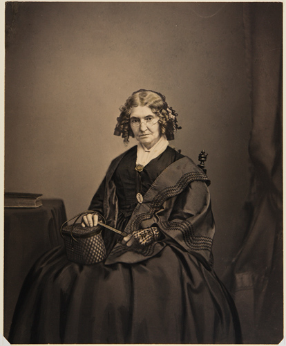 Mathew B. Brady & Studio, Mary B. Matthews Moffat, c. 1857. Salted paper print, hand-colored with black ink. Harvard Art Museums/Fogg Museum, Transfer from Special Collections, Fine Arts Library, Harvard College Library, Bequest of Evert Jansen Wendell, 2010, 2010.45.