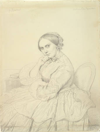 Jean-Auguste-Dominique Ingres, Portrait of Mme. Delphine Ingres, 1855. Graphite on white wove paper, laid down. Harvard Art Museums/Fogg Museum, Gift of Charles E. Dunlap, 1954.110.