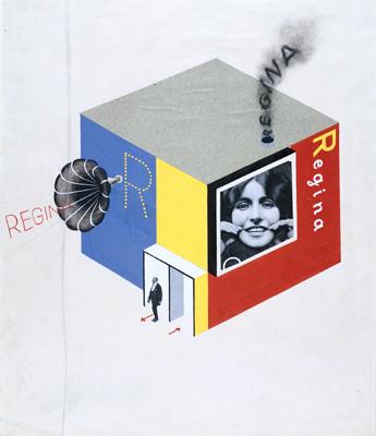 Herbert Bayer, Design for a Multi-Media Building, 1924. Gouache, collage elements, charcoal, black ink, graphite, on off-white wove paper. Harvard Art Museums/Busch-Reisinger Museum, Gift of the artist, BR48.101. © Artists Rights Society (ARS), New York / VG Bild-Kunst, Bonn.