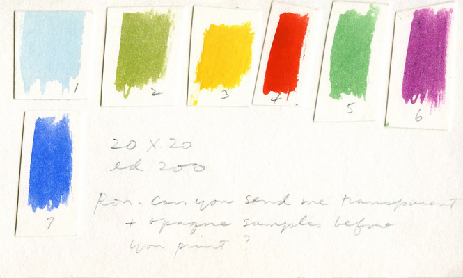 Color swatches and tests made by Kent for an editioned print. Papers of Corita, Radcliffe Institute for Advanced Study, Harvard University.
