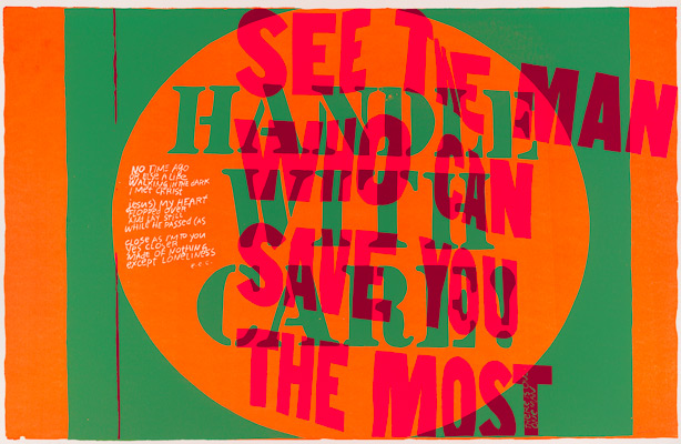 Corita Kent, handle with care, 1967. Screenprint. Harvard Art Museums/Fogg Museum, Margaret Fisher Fund, 2012.186. © Courtesy of the Corita Art Center, Immaculate Heart Community, Los Angeles.