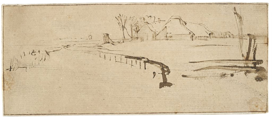 "Rembrandt Harmensz. van Rijn, Landscape with a Farmstead (""Winter Landscape""), c. 1650. Brown ink, pale brown wash, and incidental marks in black chalk on cream antique laid paper. Harvard Art Museums/Fogg Museum, Bequest of Charles A. Loeser, 1932.368."