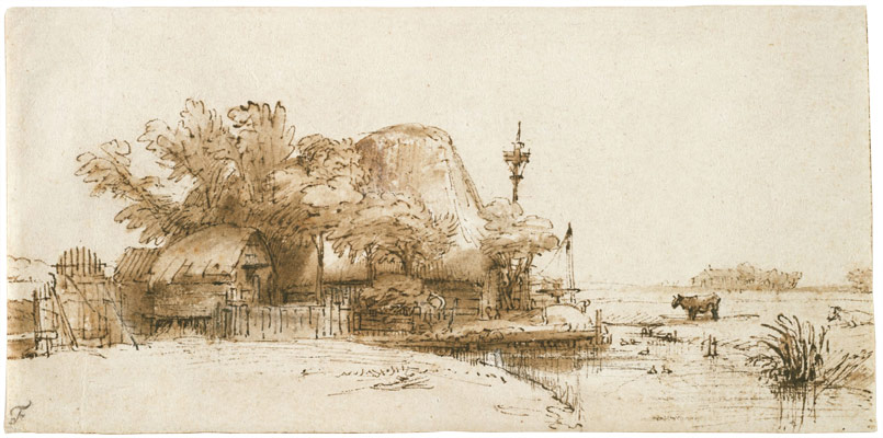 Rembrandt Harmensz. van Rijn, A Farm on the Amsteldijk(?),c. 1650–52. Brown ink, brown wash and white opaque watercolor on cream antique laid paper. The Maida and George Abrams Collection, Fogg Art Museum, Harvard University, Cambridge, Massachusetts, Gift of George Abrams in memory of Maida Abrams, 2004.181.