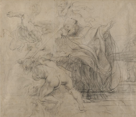 Peter Paul Rubens, Saint Gregory of Nazianzus Subduing Heresy, c. 1620. Black chalk on off-white antique laid paper. Harvard Art Museums/Fogg Museum, Bequest of Clarence L. Hay, 1969.168.