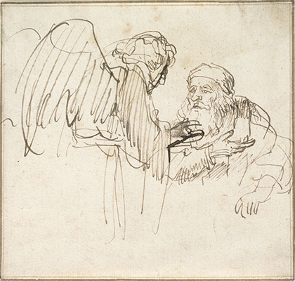 Rembrandt Harmensz. van Rijn, Zacharias(?) and the Angel, c. 1635. Brown ink on off-white antique laid paper, two framing lines in brown ink. The Maida and George Abrams Collection, Fogg Art Museum, Harvard University, Cambridge, Massachusetts, 1999.163.