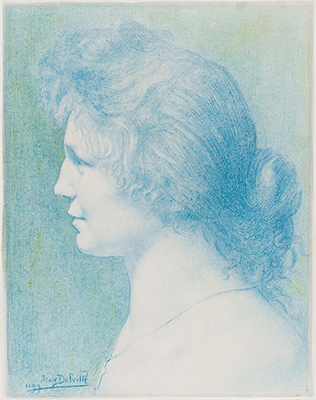 Jean Delville, Portrait of Adeline Lesseine, 1899. Colored pencil and graphite on white wove paper. Harvard Art Museums/Fogg Museum, Marian H. Phinney Fund, Paul J. Sachs Memorial Fund, and William C. Heilman Fund, 2009.84.