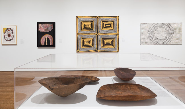 Harvard's Peabody Museum of Archaeology & Ethnology loaned the Harvard Art Museums the four coolamons on display in the Everywhen exhibition.