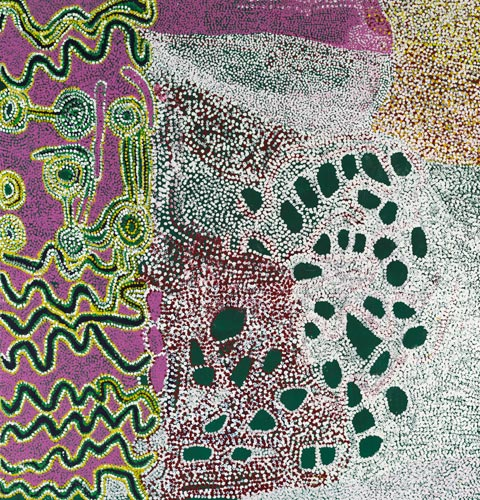 Tommy Watson, Wipu Rockhole, 2004. Synthetic polymer paint on canvas. Art Gallery of New South Wales, Sydney, Purchased with funds provided by the Aboriginal Collection Benefactors' Group 2004, 256.2004. © Tommy Watson. Courtesy of Yanda Aboriginal Art.