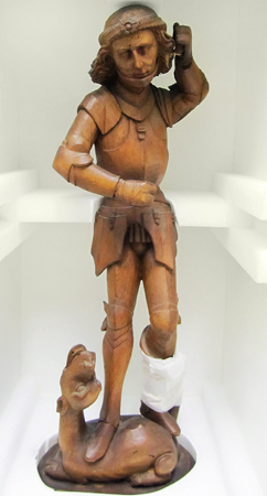 Unidentified artist, Saint George and the Dragon, 20th century. Wood. Loan from the Collection of Edouard Sandoz, 59. 1965.