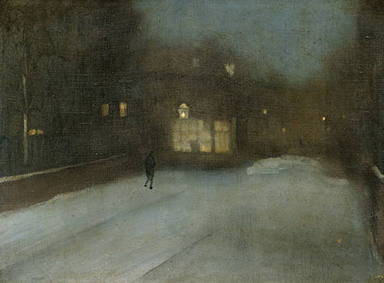 James Abbott McNeill Whistler, Nocturne in Grey and Gold: Chelsea Snow, 1876. Oil on canvas. Harvard Art Museums/Fogg Museum, Bequest of Grenville L. Winthrop, 1943.172.
