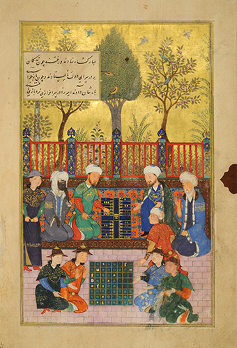 Chess versus Backgammon, Afghanistan, Herat, Timurid period, 1427. Ink, colors, and silver and gold on paper. Villa I Tatti, The Harvard University Center for Italian Renaissance Studies, Florence, TL41534.1.12.
